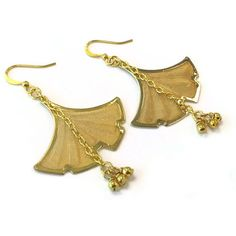 Gingko Leaf Earrings Gingko Jewelry Yellow Gold Jewelry Chain Jewellery Flower Beads Dangle Nature Fashion Unique Everyday Modern Minimal