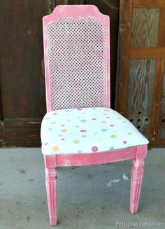themed chair makeover coral color cane back chair Petticoat Junktion