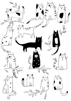 Funny Cats Pet Cute Cartoon Wall Art Decal Sticker Removable Vinyl Cut Transfer Stencil Mural Home R&; Funny Cats Pet Cute Cartoon Wall Art Decal Sticker Removable Vinyl Cut Transfer Stencil Mural Home R&; Cartoon Wall, Cartoon Cartoon, Art And Illustration, Cat Illustrations, Painting Illustrations, Black And White Illustration, Lily Cat, Character Design, Sketches