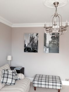Living Room, Farrow and Ball Elephants Breath, John Lewis Warwick chandelier, Photobox art, period property, Victorian, coving