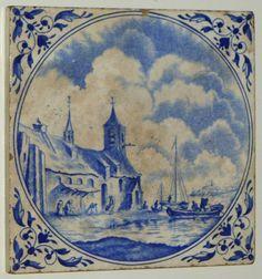 Antique 18th Century Blue Delft Ceramic Porcelain Tile Fishing Village Landscape | eBay