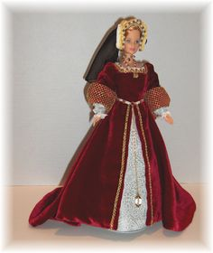 This doll represents Jane Seymour, third wife of Henry VIII, and mother to King Edward VI. Created by Judy Frank.