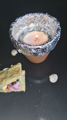 diy grill ( 4 smores or something else )  you will need:  -flower pot  -foil paper  - and candle.  so put the foil paper to the flower pot.  then put some foil balls and put it to the bottom.   cut a circle of a cardboar and put it to the top.  put candle on the top and then you can make s´mores!  hope you enjoy ! see you at the next diy <3