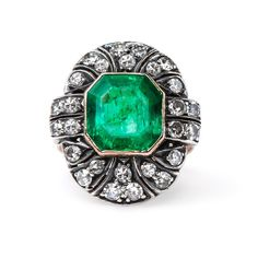 Gleaming Emerald Ring with Diamond Halo | Eden's Edge from Trumpet & Horn