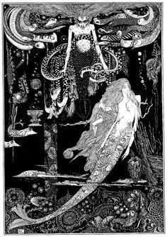ハリー・クラーク(1889-1931年)が挿絵の初仕事でアンデルセン童話(1916年)を手掛けます。その中から「人魚姫」の単色イラスト、人魚姫が魔女の元へ...