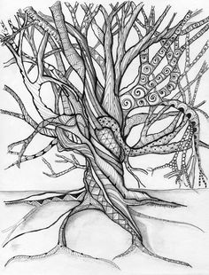 B - zentangle inspired art tree doodles Zentangle Drawings, Doodles Zentangles, Zentangle Patterns, Doodle Drawings, Doodle Art, Tangle Art, Zen Art, Anime Comics, Colouring Pages