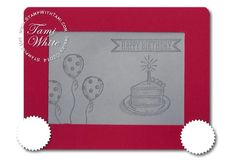 """More info: http://stampwithtami.com/blog/2014/08/etch-a-sketch Today's Stampin Up video features this freaking adorable """"Etch-a-Sketch"""" card. Do you remember the Etch a Sketch toy?? Do these even still still exist now that everyone has iPads and Tablets? This is """"old school"""" fun.  This card was created by my friend Betsy Nagel. It useds the Stampin' Up! Sketched Birthday stamp set. Get it? Etch-a-Sketched Birthday?  The technique used to make the red frame can also be used to make Photo..."""