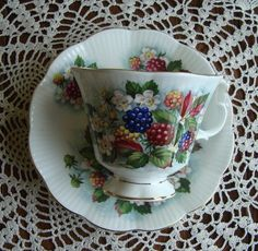 """Royal Albert  - """"Orchard Series"""" Blackberry Lane - Bone China England - Vintage Gainsborough Tea Cup and Saucer - Berries with White Flowers by OfftheShelf2015 on Etsy"""
