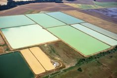 https://flic.kr/p/e56Lir | k4724-7 | An aerial view of catfish ponds in Louisiana resembles an abstract painting. The color differences between ponds can be correlated to the number and type of algae present within the ponds. USDA photo by Scott Bauer.