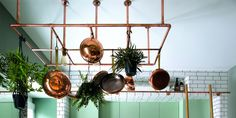 Mint #green #cabinets combine with #copper accents