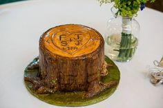 Tree Stump Wedding Cake ~ by Samantha's Sweets ~ photo by FineLine Weddings  #treestumpcake