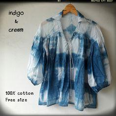 มัดย้อมด้วยมือ ด้วยครามธรรมชาติ  No toxic 100% cotton Free Size Price: 490 Baht 📮 free shipping by EMS  สนใจติดต่อสอบถามได้คะ  http://m.facebook.com/indigoandcream/  ig: indigoandcream  #มัดย้อมชิโบริ #มัดย้อม #handmade #shibori #shiboridye #tiedyed #handdyed #indigodye #indigo #อินดิโก #blue #shirt #เสื้อเชิ้ต #แขนบอลลูน #คอตตอน #สีขาว #สีฟ้า #สีคราม #สวย #แฮนด์เมด #โบฮีเมียน #boho #bohemian #indigoandcream#cotton