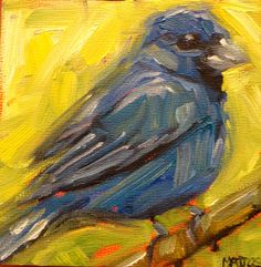Bluebird oil painting on small wood cradle canvas.