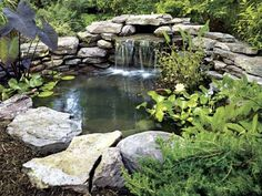 Need landscape and patio projects & ideas, including the best garden projects? Improve the look of your backyard with these DIY projects. Pond Landscaping, Ponds Backyard, Landscaping With Rocks, Backyard Ideas, Garden Ponds, Garden Tips, Garden Ideas, Backyard Waterfalls, Pond Ideas