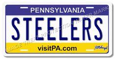 Pittsburgh Pennsylvania STEELERS AFC NFL Football Team Vanity License Plate Tag
