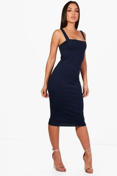 117fc8430a98d Boohoo Square Neck Bodycon Midi Dress Navy Size UK 8 DH181 HH 08  fashion   clothing  shoes  accessories  womensclothing  dresses (ebay link)