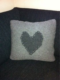 knitted heart grey cushion