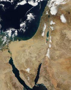 Nieve en Jerusalén. Fotografía recogida por el satélite Terra de la NASA (13/12/13).