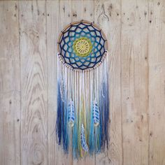 Crochet Dreamcatcher Lagoon with tie dye thread by isloomauritius