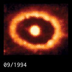 Figura 5: Timelapse de las imágenes obtenidas con el Telescopio Espacial Hubble durante 15 años (entre 1994 y 2009) mostrando la colisión del material expulsado por la supernova SN 1987A con el material del anillo interno formado por el material liberado por la estrella progenitora unos 20 mil años antes de la explosión. Crédito: Larson et al. 2011, Nature, 474, 484.