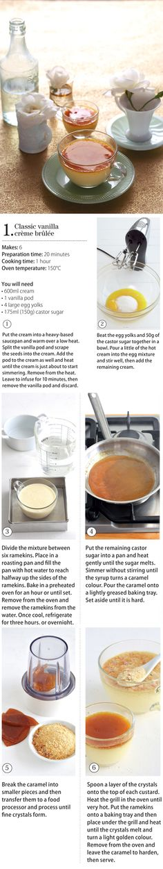 Classic vanilla crème brûlée (step by step & with pictures! Just Desserts, Dessert Recipes, Desserts With Biscuits, Recipe Steps, Delish, Yummy Yummy, Love Food, Sweet Recipes, Sweet Treats