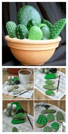 DIY Stone Cactus Yard Art