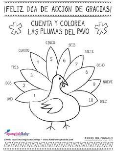 Thanksgiving coloring sheet in Spanish (Printable) via Spanglishbaby: