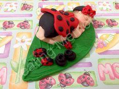 Fondant Baby Lady Bug  Cake Topper by anafeke on Etsy, $17.00