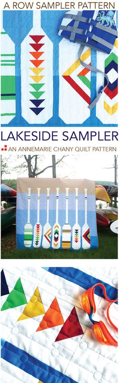 """Jump on in! The water's fine. Check out the LAKESIDE SAMPLE QUILT PATTERN PDF. Sew this sampler one paddle (row) at a time. Find that unplugged feeling you find by the water. Finished Quilt is: 84"""" x 72"""" Intermediate 22-page Quilt Pattern NO Paper Piecing! Fabric Org chart included with Full Size Templates"""