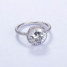 FRED LEIGHTON Micro Pave 3 carat Diamond Solitare Ring at 1stdibs