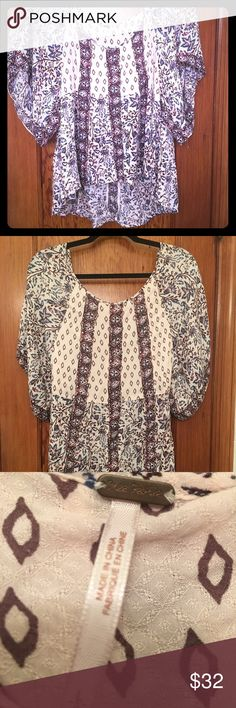 FREE PEOPLE Boho Print Top Size L This FREE PEOPLE Boho Print Top Size L is in excellent condition. Zero flaws!     ❌No low balls please Free People Tops Blouses