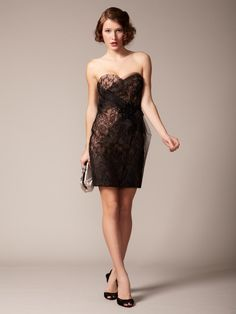 Tulle Overlay Lace Dress by Marchesa Couture