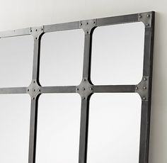 Industrial Rivet Windowpane Mirror