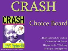 9 activities that provide a fun culmination to your Crash unit. Students can choose from a variety of activities to create their own final project. Use as classwork, homework, or even in literacy centers. Activities promote higher order thinking, are connected to Common Core standards, and are engaging by tapping into the Multiple Intelligences.Check out more AWESOME CHOICE BOARDS for Upper Elementary and Middle School novels in my store!