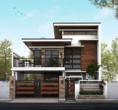 Philippine home ideas Redmaster Philippines Water Garden Feature - How To Save On The Pennies And La 3 Storey House Design, Two Story House Design, Modern Small House Design, Modern Exterior House Designs, Modern House Facades, House Gate Design, Design Exterior, Duplex House Design, House Front Design