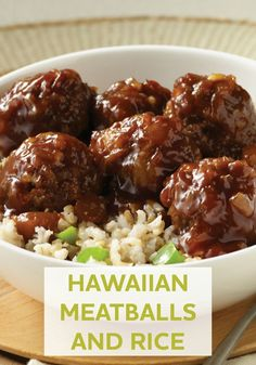 and Rice Treat your family to a taste of the tropics tonight with this delicious Hawaiian Meatballs and Rice recipe!Treat your family to a taste of the tropics tonight with this delicious Hawaiian Meatballs and Rice recipe! Beef Dishes, Food Dishes, Main Dishes, Meatballs And Rice, Sweet And Sour Meatballs, Recipes With Meatballs, Ground Beef Meatballs, Teriyaki Meatballs, Jelly Meatballs