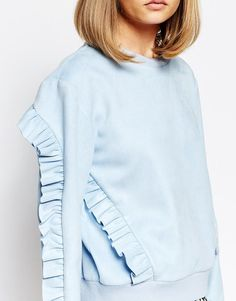 sister jane   Sister Jane Topaz Volante Oversized Crew Neck Sweatshirt With  Ruffle Detail at ASOS a0daa7e4017e