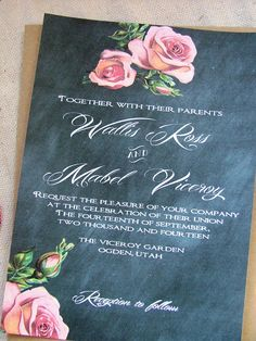 Chalkboard and peach wedding invitation - downton abbey style. $100.00, via Etsy.