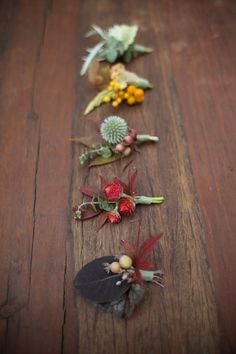 #ombre #fall #boutonniere #groom #groomsmen #wedding #blooms #details