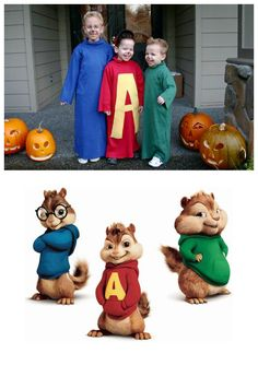 Characters: Alvin, Simon, Theodore / TV show: Alvin & The Chipmunks / Costumes: Tina Morse, Snohomish, WA / Cosplayers: Tina's kids Holloween Costumes For Kids, Kids Costumes Boys, Boy Costumes, Funny Halloween Costumes, Halloween Kids, Halloween Crafts, Holiday Crafts, Disney Characters Costumes, Tv Character Costumes