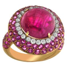 Yellow Gold Burma Cabochon Ruby, Sapphire & Diamond Ring