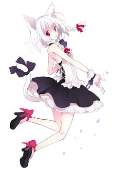 ✮ ANIME ART ✮ neko. . .cat girl. . .cat ears. . .cat tail. . .dress. . .ruffles. . .corset ribbons. . .white hair. . .heels. . .cute. . .kawaii