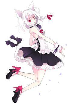 ✮ ANIME ART ✮ neko. . .cat girl. . .cat ears. . .cat tail. . .dress. . .ruffles. . .corset ribbons. . .white hair. . .heels. . .cute. . .kawaii