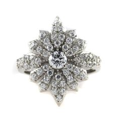 Diamonique Enlightened Sterling Empress Sisi's Star Ring 7 N958 #QvoyagerJewelry #Cocktail
