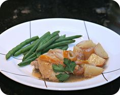 Crockpot Lemon Chicken with green beans and potatoes