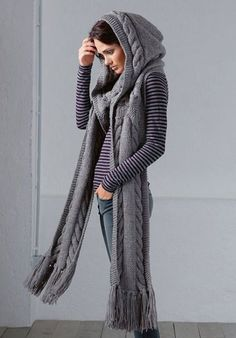 Selling this Hand Knit Hooded Scarf in my Poshmark closet! My username is: marygmack. Grey Scarf, Scarf Hat, Crochet Shawl, Knit Crochet, Scoodie, Hand Knitting, Knitting Patterns, Look 2018, Hooded Scarf