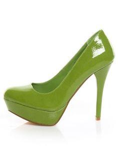 Qupid Mineral 01 Lime Green Patent Platform Pumps - $32.00 - StyleSays