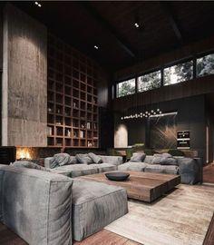 Masculine Living Rooms, Dark Living Rooms, Interior Design Living Room, Living Room Designs, Modern Living, Luxury Living, Decoration Design, Deco Design, Design Moderne