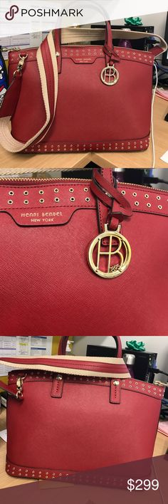 "NEW Henri Bendel West 57th Grommet LG Satchel Brand new never used. Red, gorgeous Henri Bendel Handbag. It has grommet (studs). Gold hardware. And what I love about it most is that the strap is a very thick camel and red colored strap. It's just a super gorgeous bag! Comes with dust bag! 9.5"" H x 15"" W x 6.75"" D, removable crossbody strap 18-20"". Handle drop 5"". henri bendel Bags Satchels"