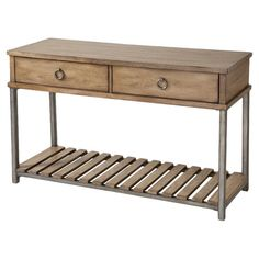 Perfect for placing a bouquet of fresh blooms or an array of family photos, this charming console table showcases 2 drawers and a slatted bottom shelf.